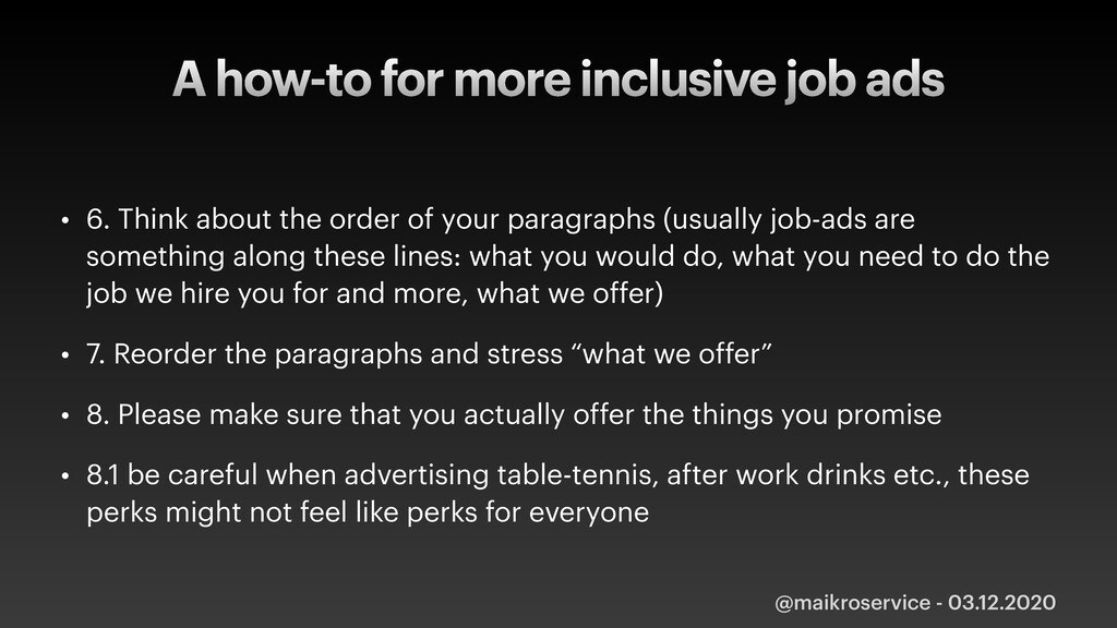 A how-to for more inclusive job ads • 6. Think ...