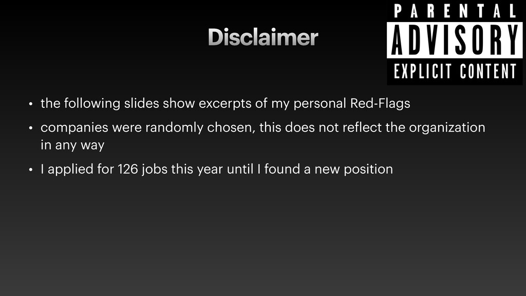 Disclaimer • the following slides show excerpts...