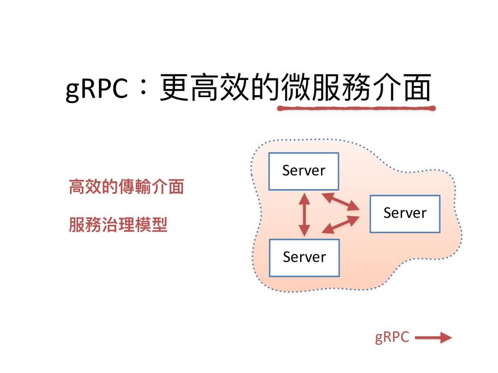 Server gRPC Server Server gRPC:更⾼效的微服務介⾯ ⾼效的傳輸介...