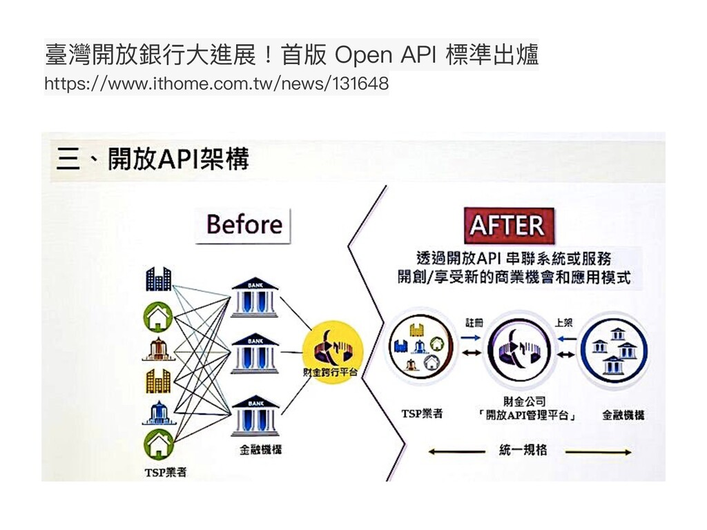 臺灣開放銀⾏⼤進展!⾸版 Open API 標準出爐 https://www.ithome.c...