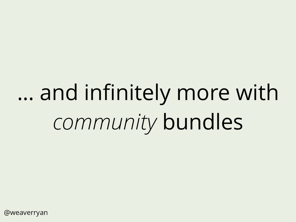 … and infinitely more with community bundles @we...