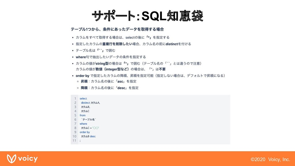©2020 Voicy, Inc. サポート:SQL知恵袋