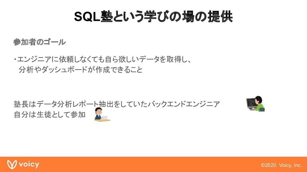 ©2020 Voicy, Inc. SQL塾という学びの場の提供 参加者のゴール ・エンジニア...