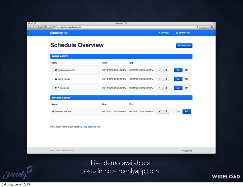 Live demo available at ose.demo.screenlyapp.com...