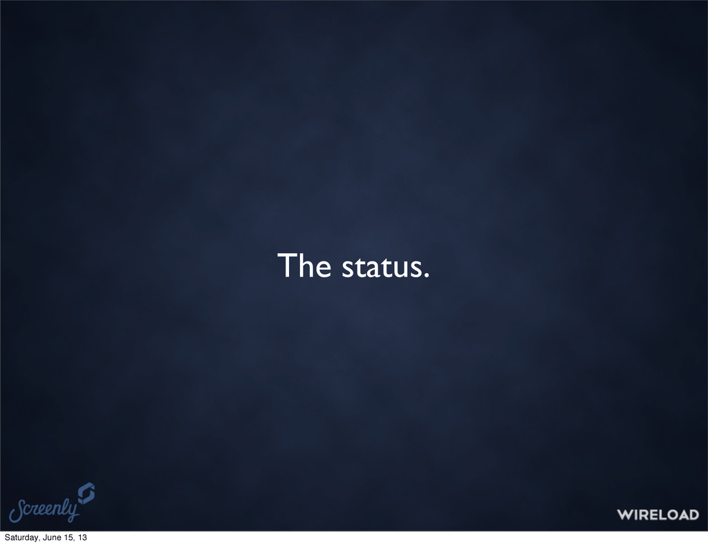 The status. Saturday, June 15, 13