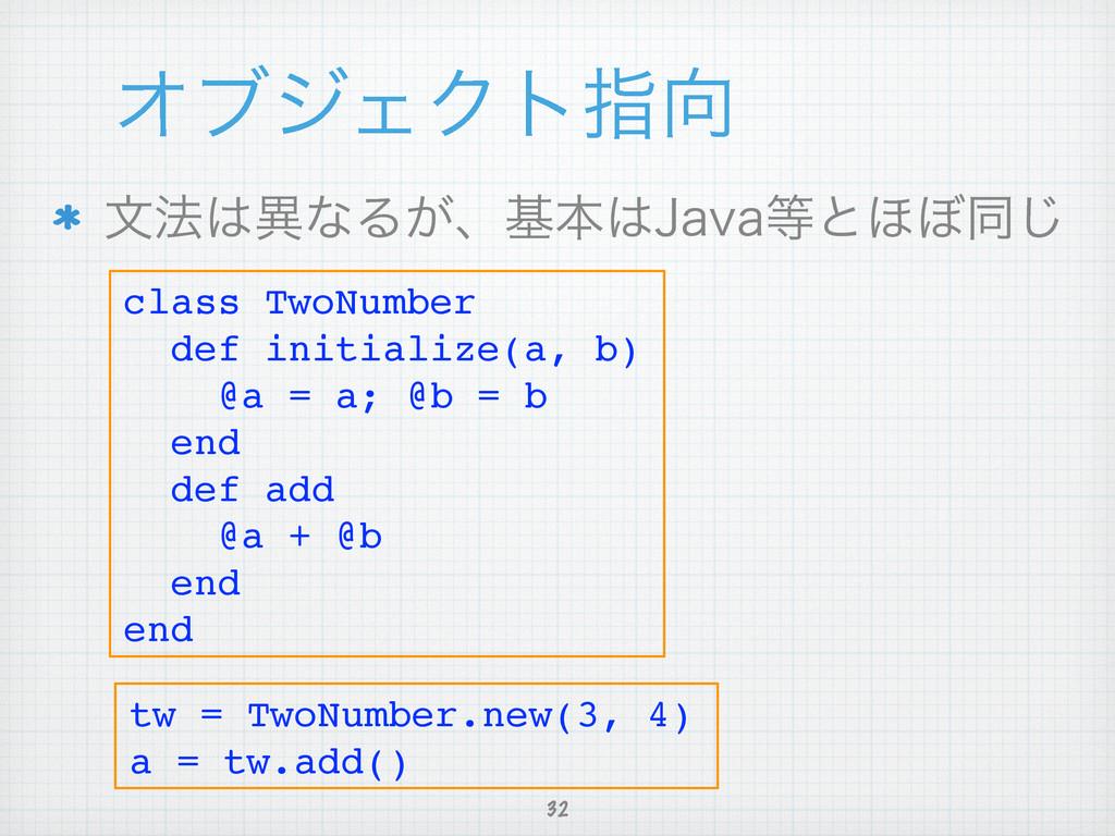 ΦϒδΣΫτࢦ 32 จ๏ҟͳΔ͕ɺجຊ+BWBͱ΄΅ಉ͡ class TwoNumb...