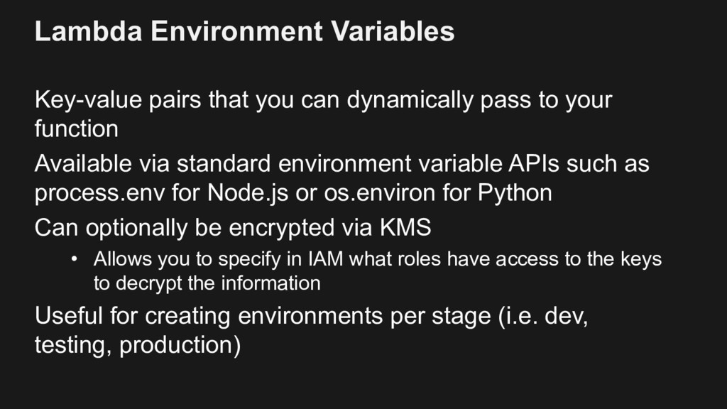 Lambda Environment Variables Key-value pairs th...