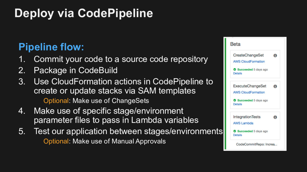 Deploy via CodePipeline Pipeline flow: 1. Commi...