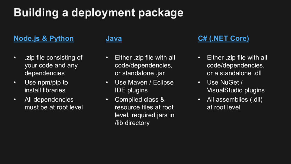 Building a deployment package Node.js & Python ...