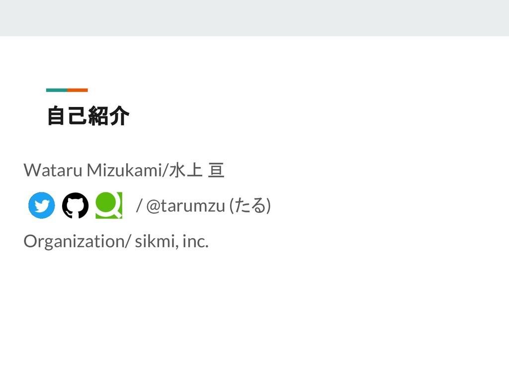 自己紹介 Wataru Mizukami/水上 亘         / @tarumzu (た...