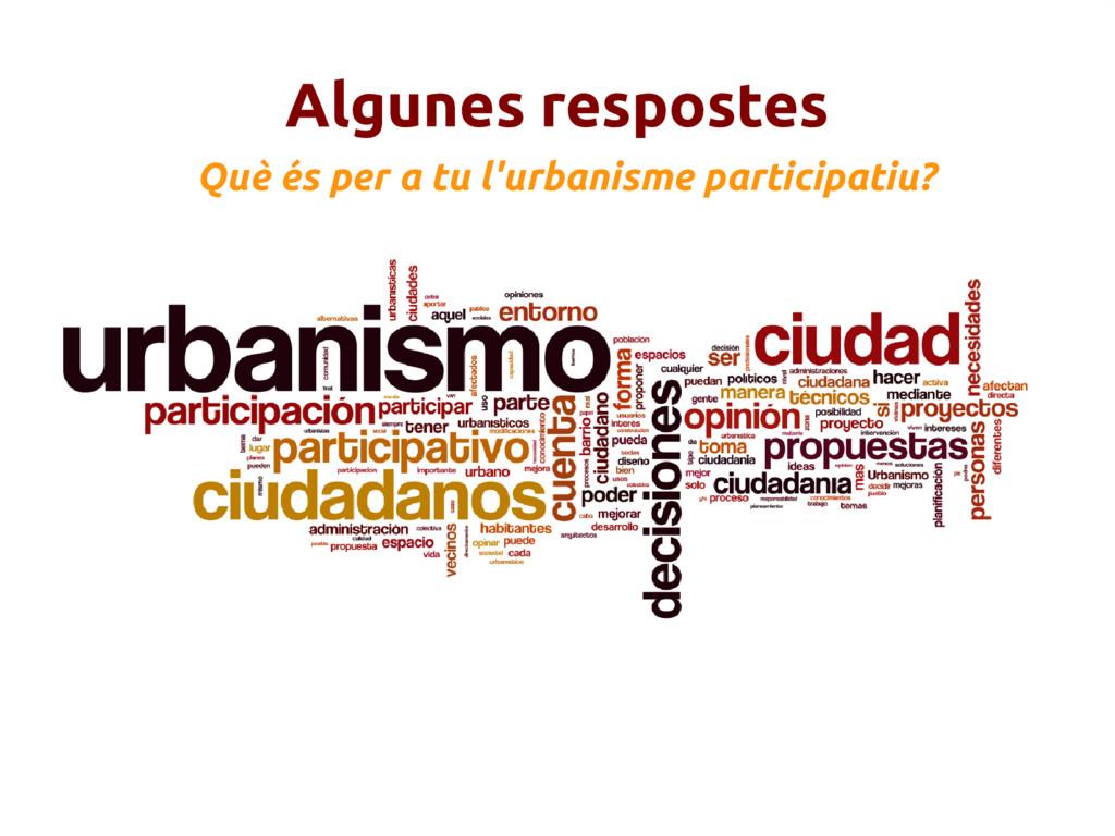 Algunes respostes Què és per a tu l'urbanisme p...