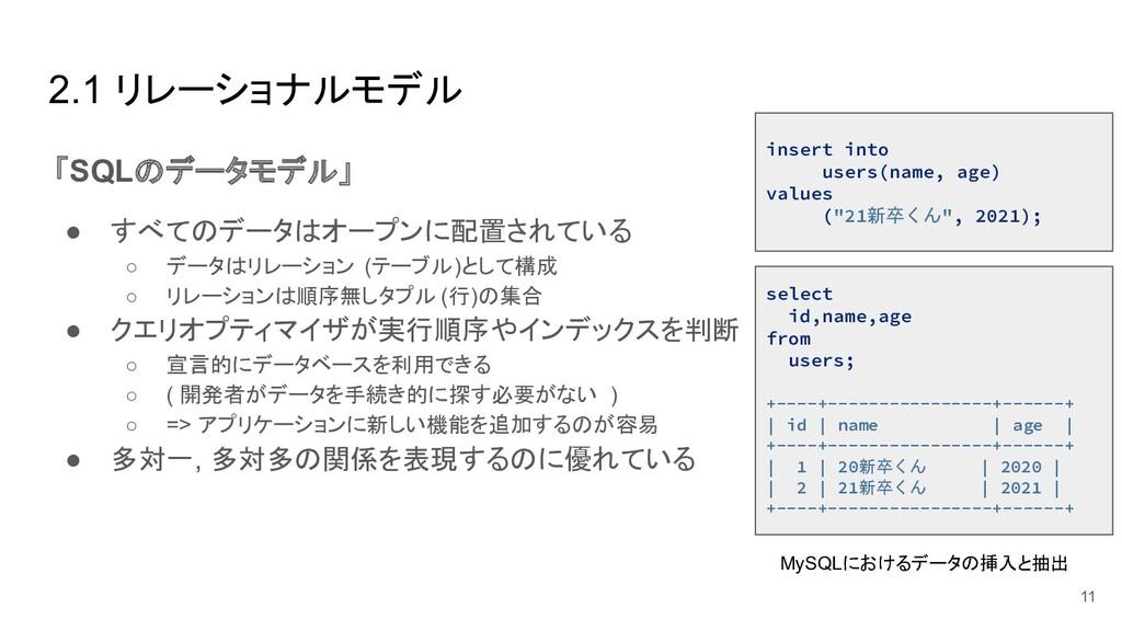 2.1 リレーショナルモデル 「SQLのデータモデル」 ● すべてのデータはオープンに配置され...