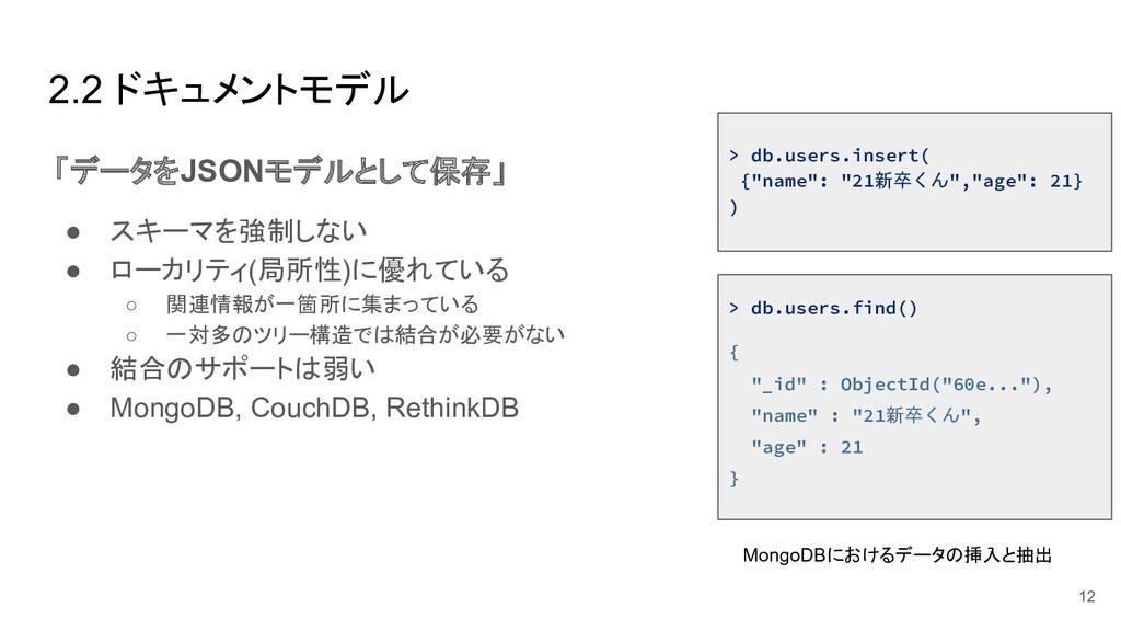 2.2 ドキュメントモデル 「データをJSONモデルとして保存」 ● スキーマを強制しない ●...