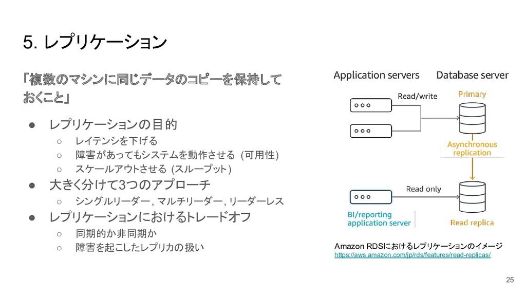 5. レプリケーション 「複数のマシンに同じデータのコピーを保持して おくこと」 ● レプリケ...