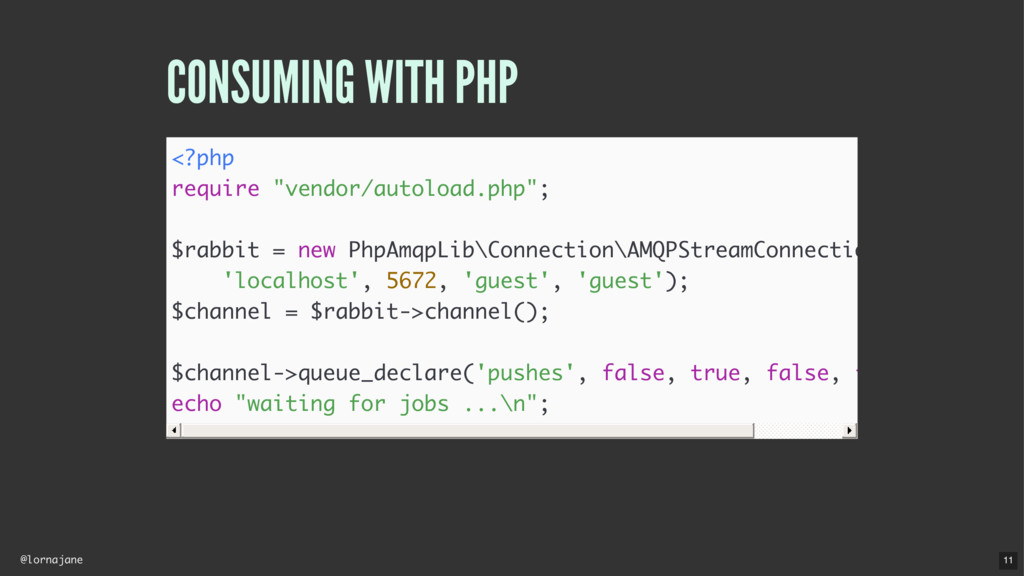 "@lornajane CONSUMING WITH PHP <?php require ""ve..."