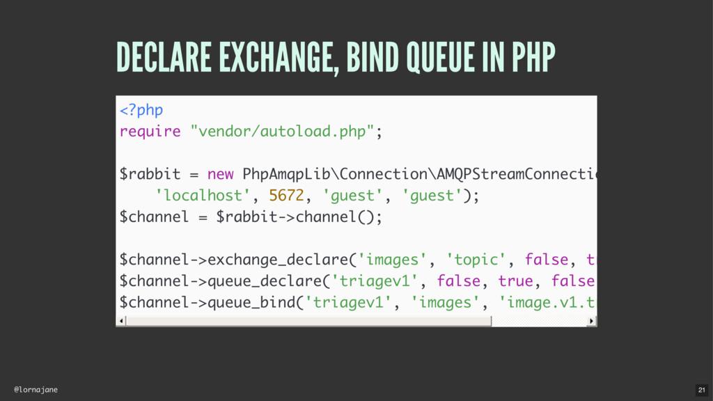 @lornajane DECLARE EXCHANGE, BIND QUEUE IN PHP ...