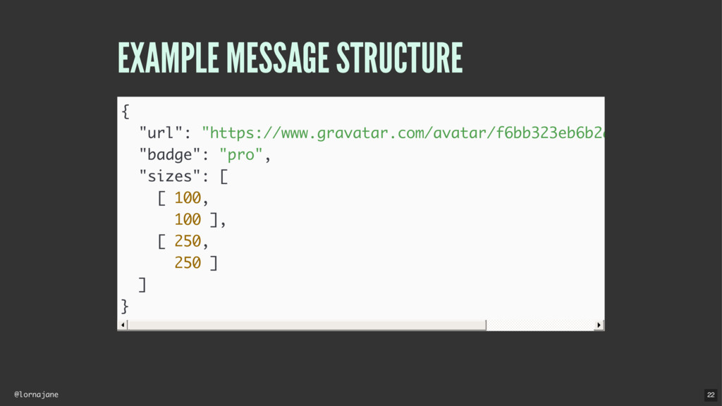 "@lornajane EXAMPLE MESSAGE STRUCTURE { ""url"": ""..."