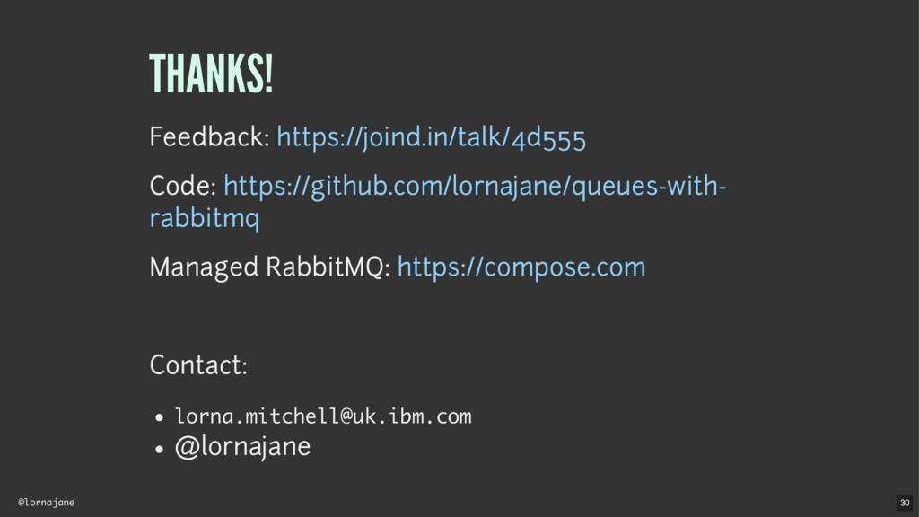 @lornajane THANKS! Feedback: Code: Managed Rabb...