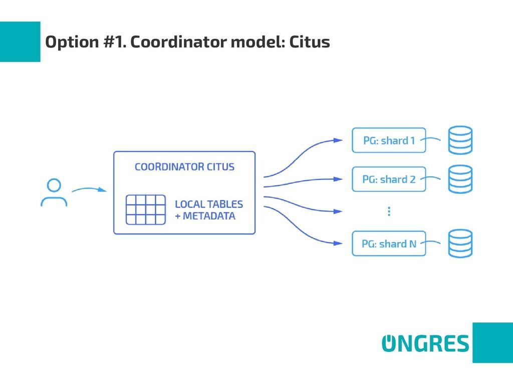 Option #1. Coordinator model: Citus