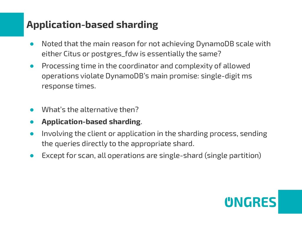 Application-based sharding ● Noted that the mai...