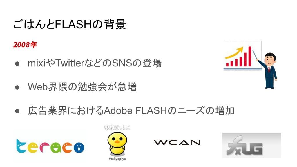 ごはんとFLASHの背景 2008年 ● mixiやTwitterなどのSNSの登場 ● We...