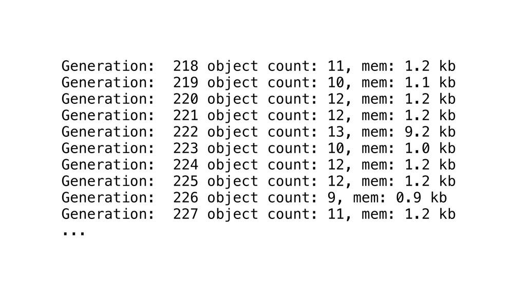 Generation: 218 object count: 11, mem: 1.2 kb G...