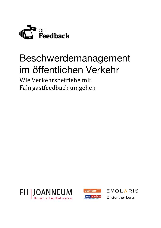 Beschwerdemanagement im öffentlichen Verkehr Wi...