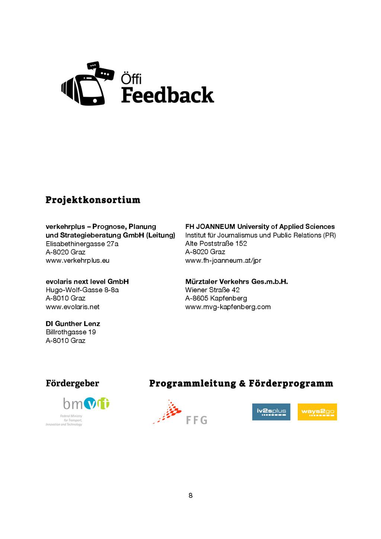 8 Projektkonsortium verkehrplus – Prognose, Pla...