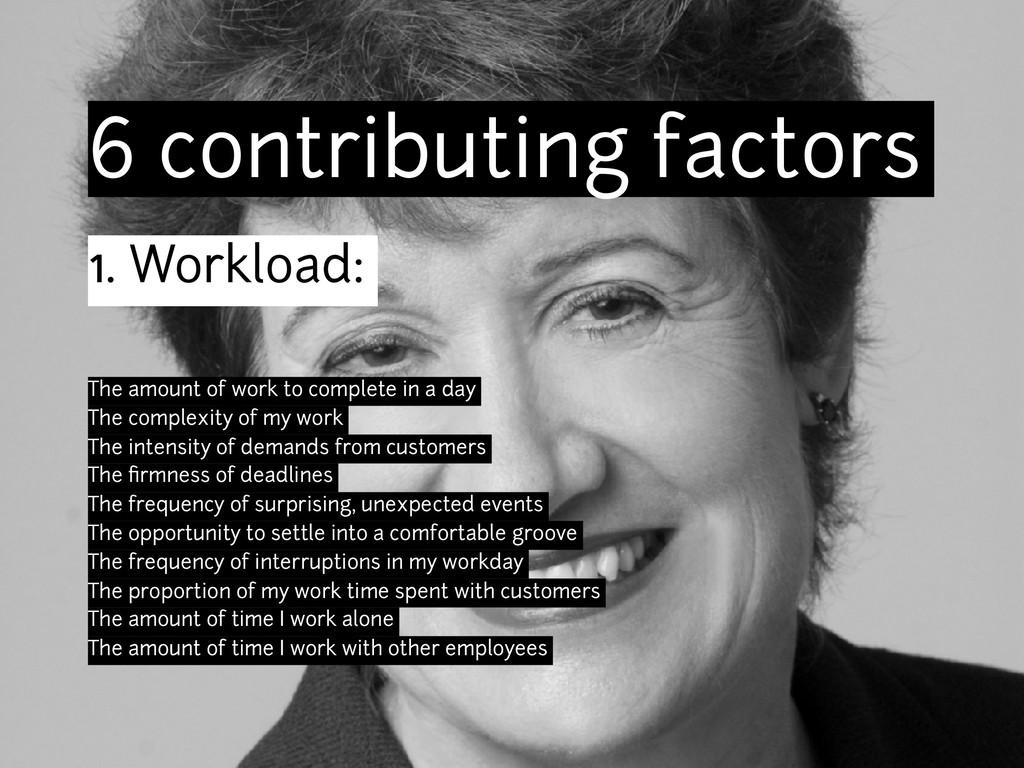 6 contributing factors 1. Workload: The amount ...
