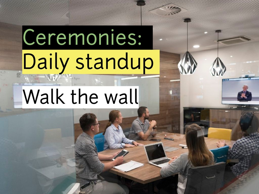 Ceremonies: Daily standup Walk the wall