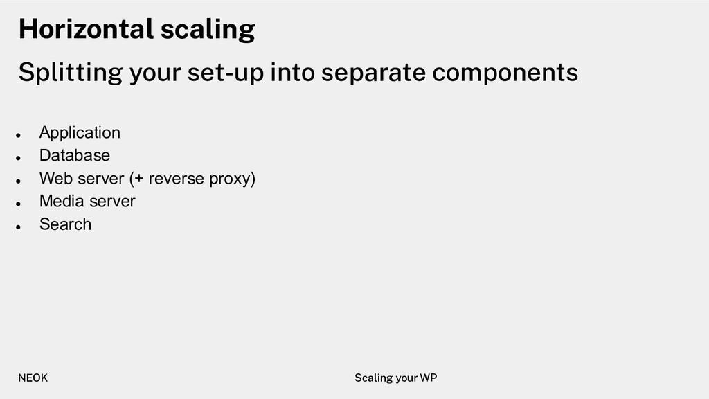Horizontal scaling ● Application ● Database ● W...