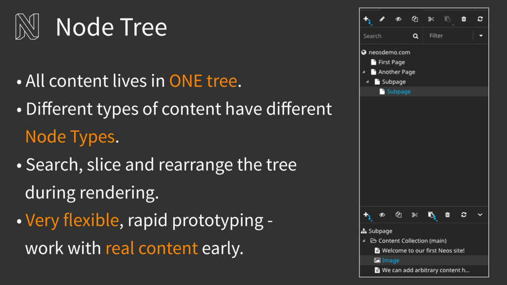 Node Tree • All content lives in ONE tree. • Di...