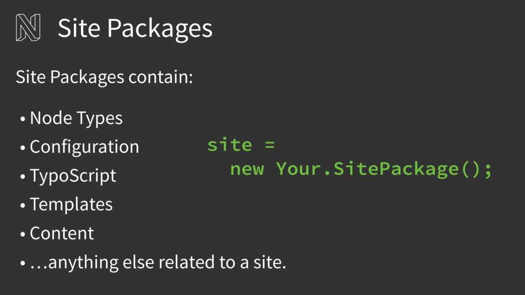 Site Packages • Node Types • Configuration • Ty...