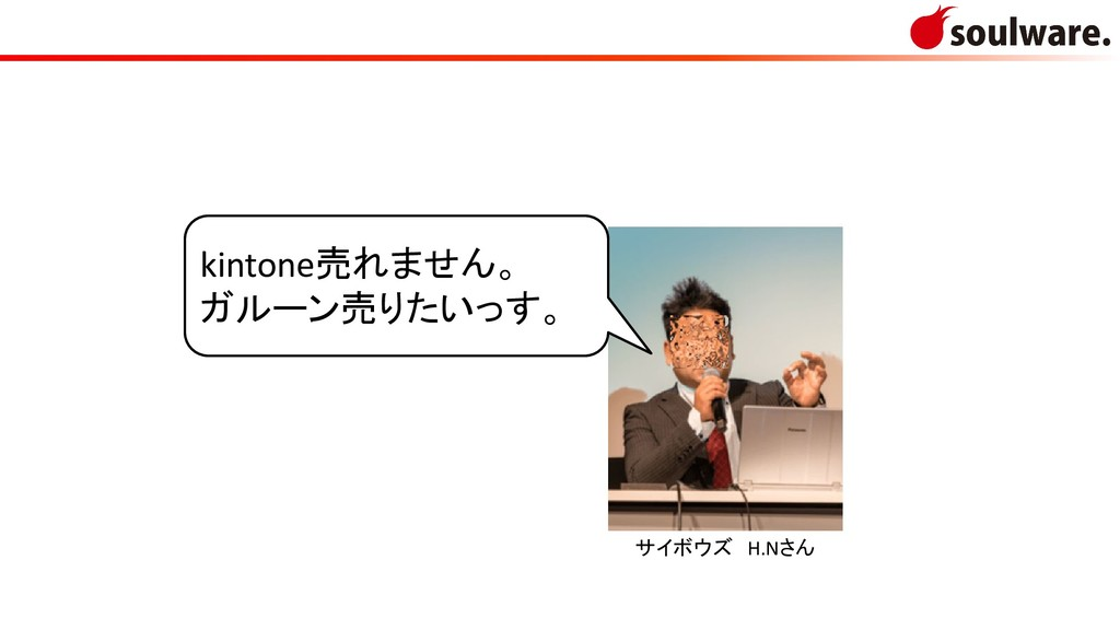サイボウズ H.Nさん kintone売れません。 ガルーン売りたいっす。