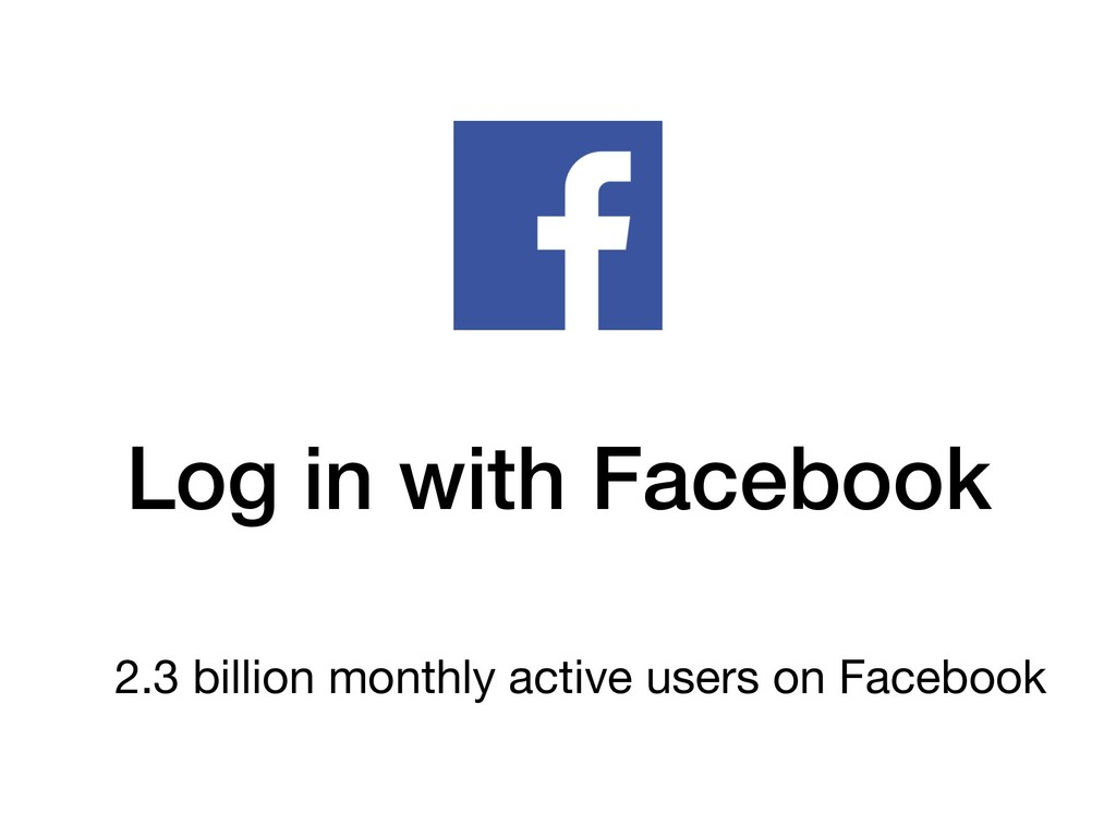 Log in with Facebook 2.3 billion monthly active...