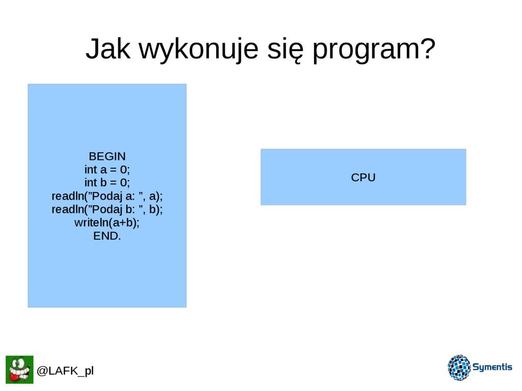 Jak wykonuje się program? CPU BEGIN int a = 0; ...