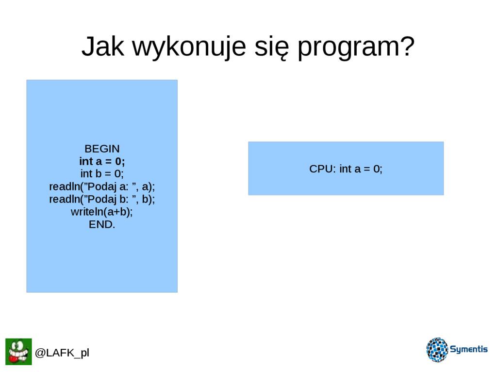 Jak wykonuje się program? CPU: int a = 0; BEGIN...