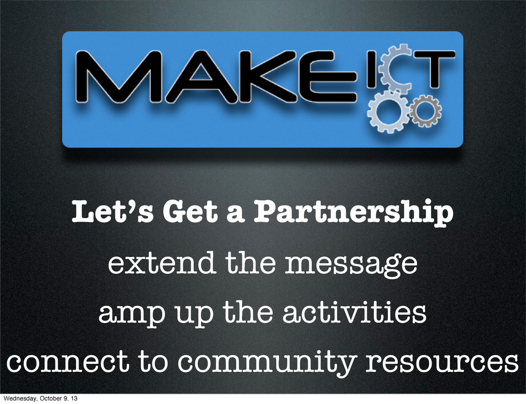 Let's Get a Partnership extend the message amp ...