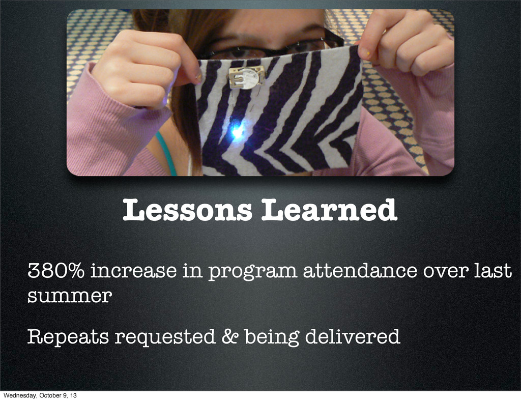 Lessons Learned 380% increase in program attend...