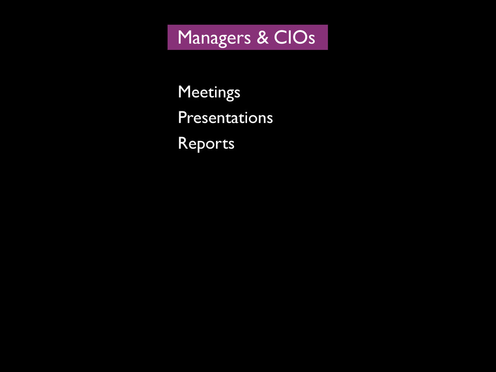 Managers CIOs & Meetings Presentations Reports