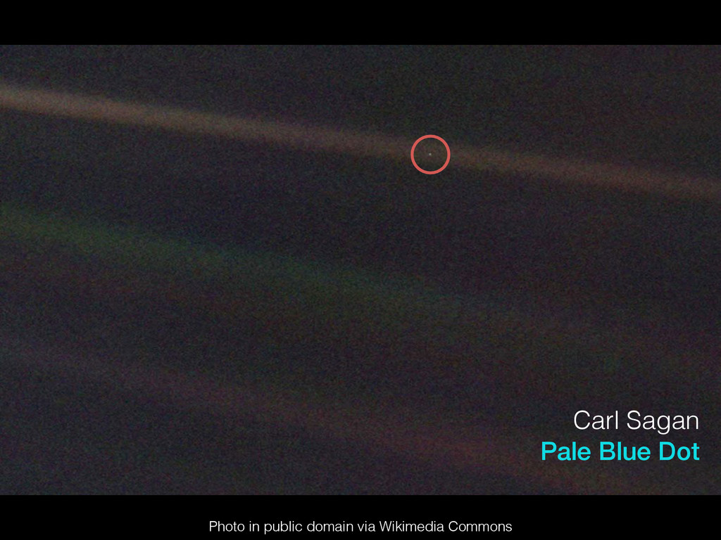 Carl Sagan Pale Blue Dot Photo in public domain...