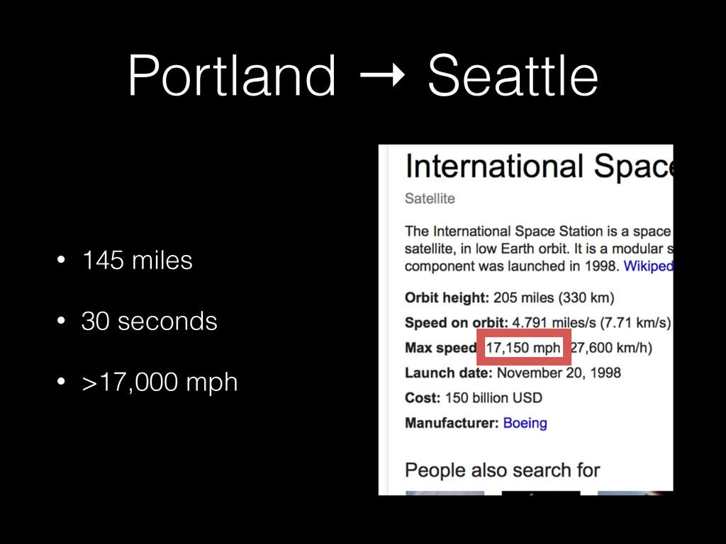 Portland → Seattle • 145 miles • 30 seconds • >...