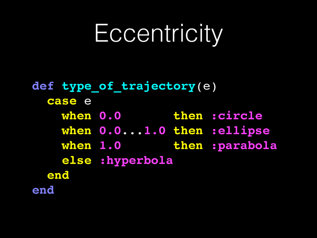 Eccentricity def type_of_trajectory(e)! case e!...