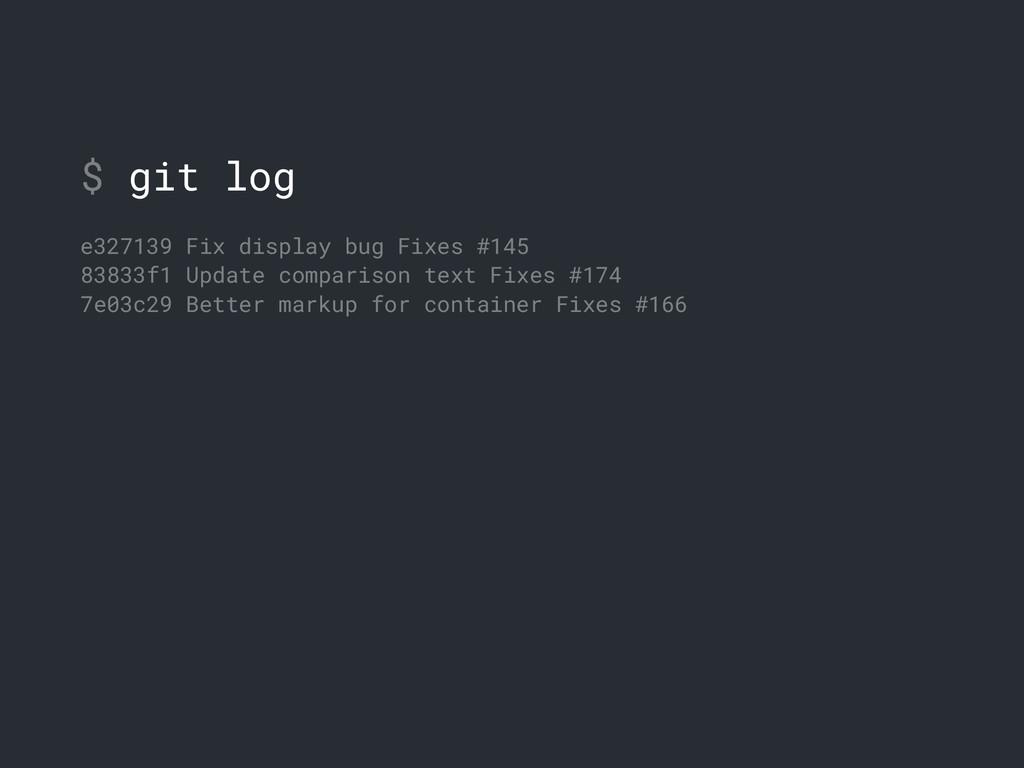 $ git log e327139 Fix display bug Fixes #145 83...