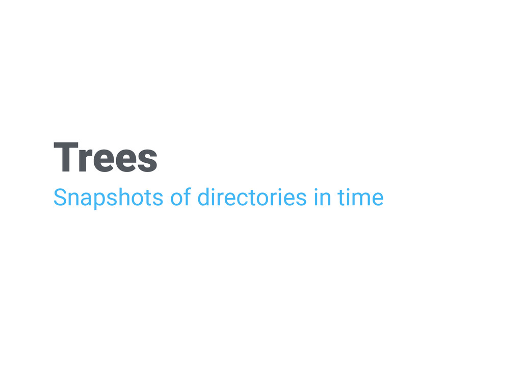 Trees Snapshots of directories in time
