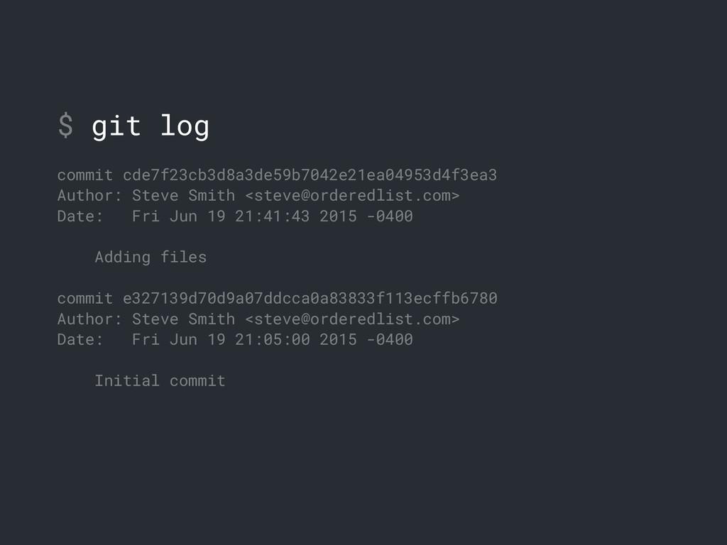 $ git log commit cde7f23cb3d8a3de59b7042e21ea04...
