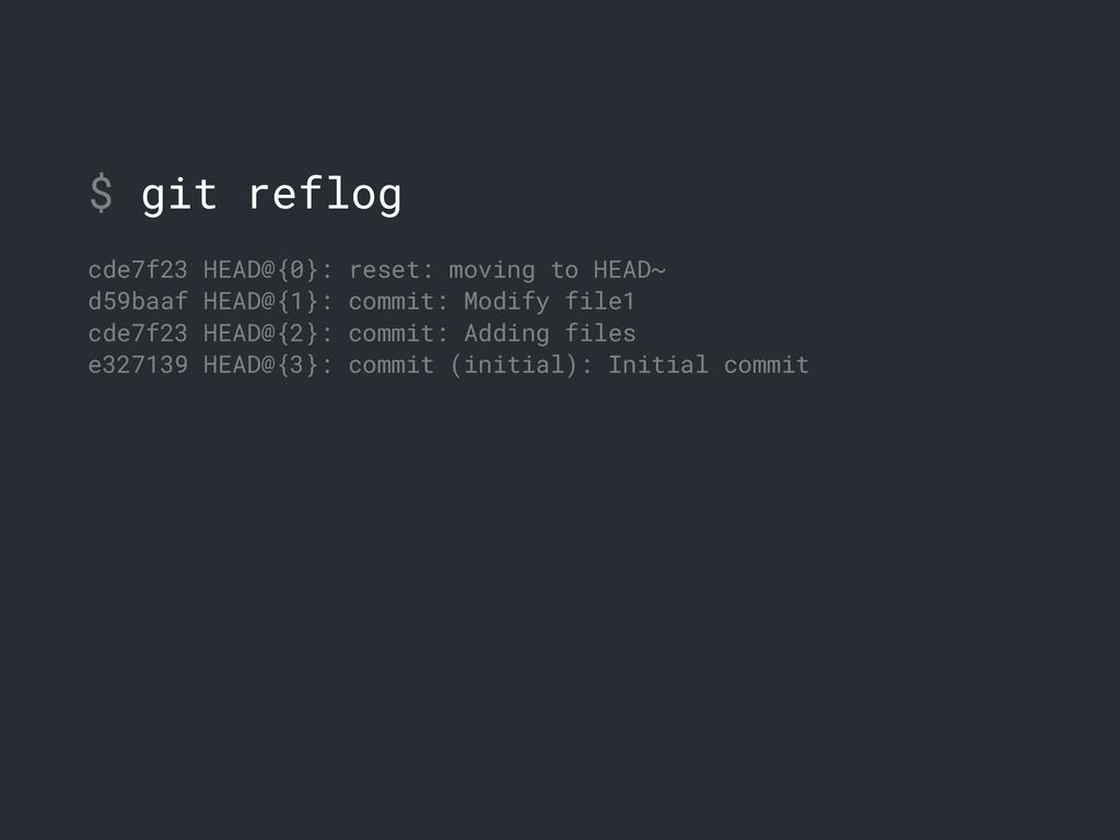 $ git reflog cde7f23 HEAD@{0}: reset: moving to...
