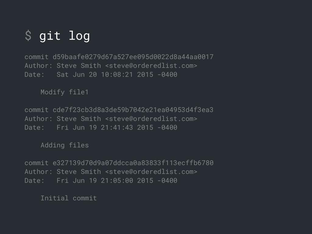 $ git log commit d59baafe0279d67a527ee095d0022d...