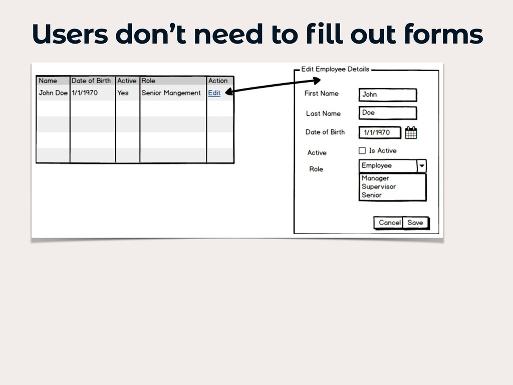 Users don't need to fill out forms