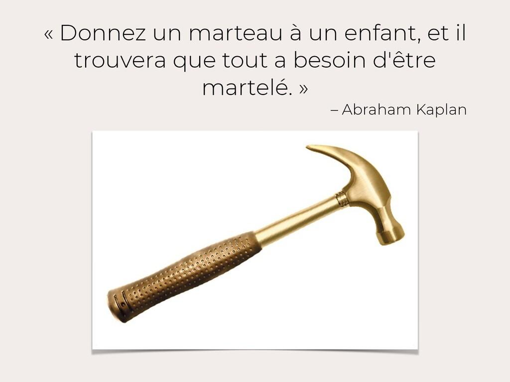 « Donnez un marteau à un enfant, et il trouvera...
